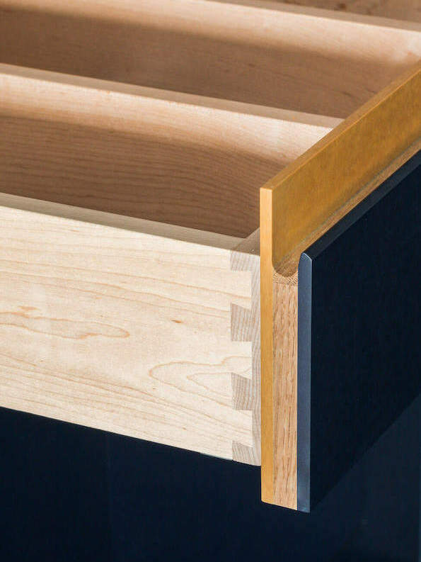 Limehouse Kitchen Richlite Blue Canyon/Maple Valley Contrasting Drawer Fronts
